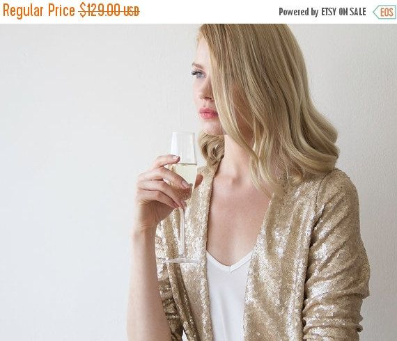 Sequin gold jacket with long sleeves Long sleeves sparkling bridal jacket (90.30 USD) by BLUSHFASHION