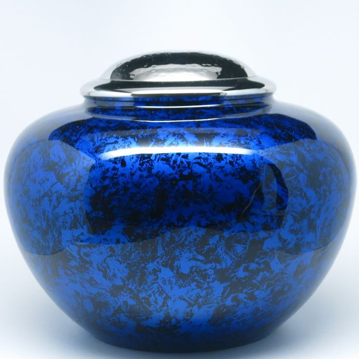 Cremation Urn - Funeral Urn for Human Ashes - Burial urn with lacquer finish - 100% Brass - Low Profile - Full Adult Size (Blue)