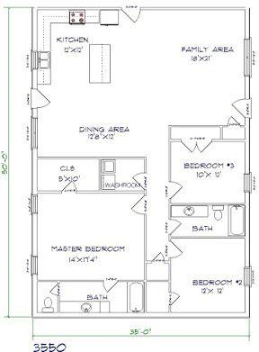 barndominium cost 3 bedroom 2 bathroom 35x50