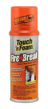 Touch 'n Foam Firebreak is a flame-resistant all-purpose, Class 1 fire-retardant foam sealant that exceeds testing standards.    Firebreak is self-extinguishing and works by eliminating oxygen flow in service penetrations, where fire spreads most quickly.  Using Firebreak in these penetrations blocks air infiltration, which means fire will take longer to burn through to adjoining rooms, giving you valuable time to get to safety.