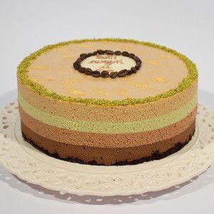 Torta mousse cioccolato pistacchio e cappuccino