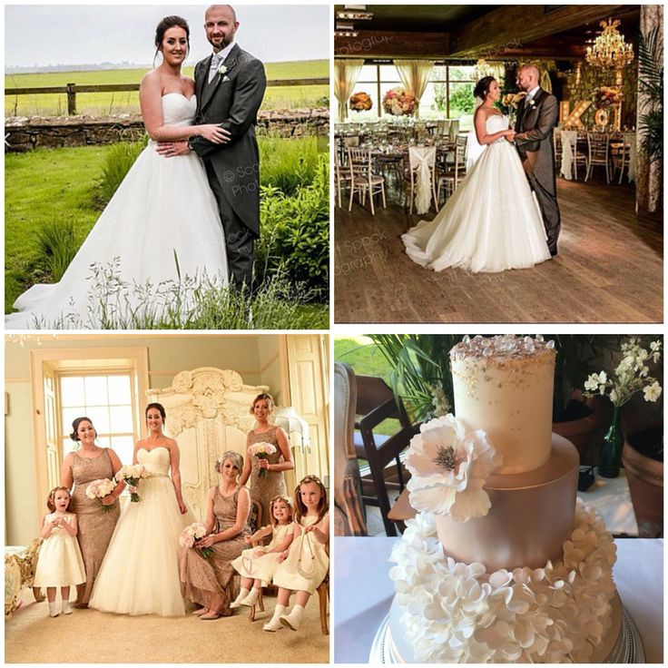 Kathryn's wedding at Newton Hall in her Eddy K princess wedding dress. Stunning cake from The Cake Garden, Northumberland.