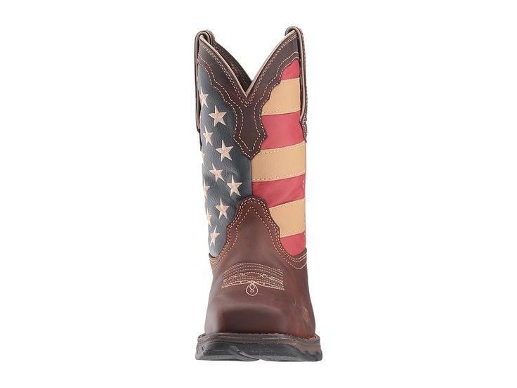 Durango Lady Rebel Flag Steel Toe Cowboy Boots Brown