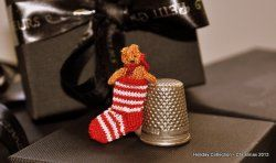 Candy Cane Stocking with Tiny Teddy by Jenny Tomkins
