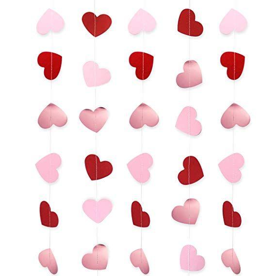 Heart Garland Banner Valentines Day Decorations Paper Heart Hanging Banner For We Valentines Day Decorations Valentine Photo Props Love Anniversary