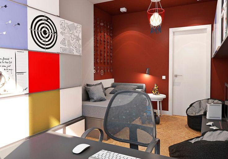 Серая мебель с яркими стенами