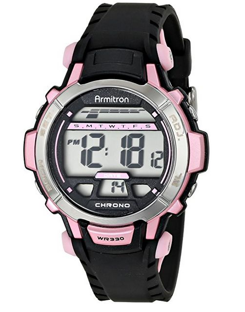 Armitron Sport Armitron Sport Women's 45/7036PNK Pink Accented Black Resin Strap Digital Chronograph Sport Watch 4.5/5 41 reviews $26      37mm round black resin case with metallic pink and silver-tone top rings     LCD display includes the day, date, time, and seconds     Chronograph with alarm, lap time, dual time, and backlight with 3 second delay functions     Textured black resin strap with metallic pink accents; silver-tone buckle closure     Water resistant to 330 feet (100 M)…