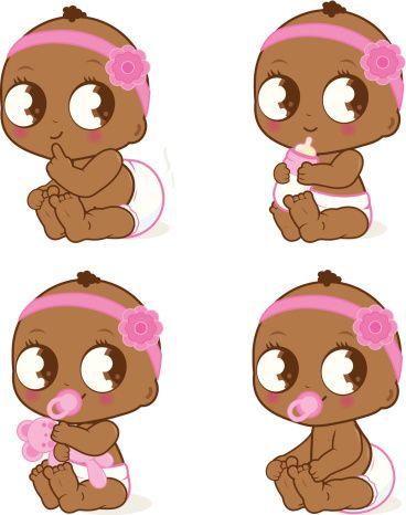 Adorable petite fille afro-américaine - Illustration vectorielle