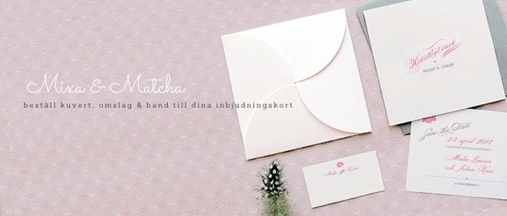 Matcha inbjudningskorten till bröllopet med snygga kuvert, omslag & band