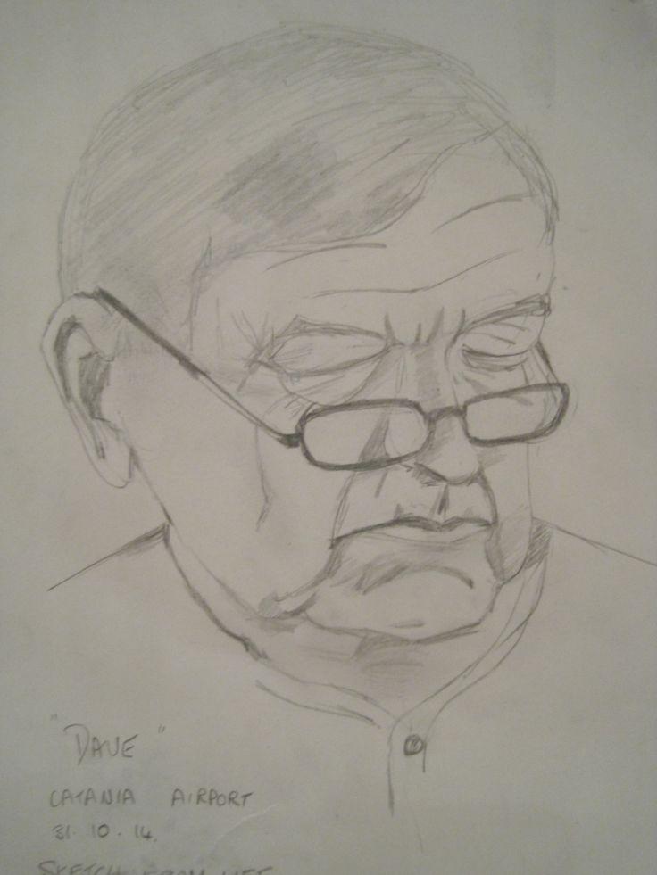 Pencil sketch of Dave at Catania airport October 2014