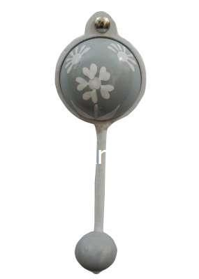 White Heart Flower Ceramic Knobs, Ideal for:-Hallways, bedrooms, Kitchens Wall Hooks.
