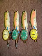 "LOT OF 4 - Sweetwater IPA & 420 fish beer tap handles, 10.25"" tall, L272"