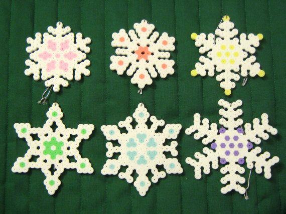Pastel perler bead snowflake ornaments by RainbowMoonShop