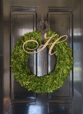 Attractive Love The Boxwood Wreath With The Letter   Great Wreath Hanger, Too. A  Square Wreath Would Look Good, As Well. I Use To Spend Hours Making These  With Our ...