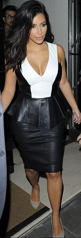 Who made  Kim Kardashian's white peplum top, black skirt, and suede tan pumps that she wore in London