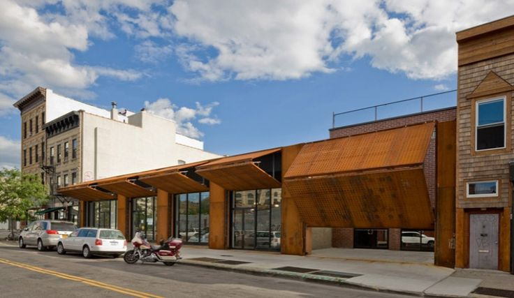 movable wall architecture - Wycoff Exchange, andre kikoski architects, bushwick, moveable facade, corten steel, green