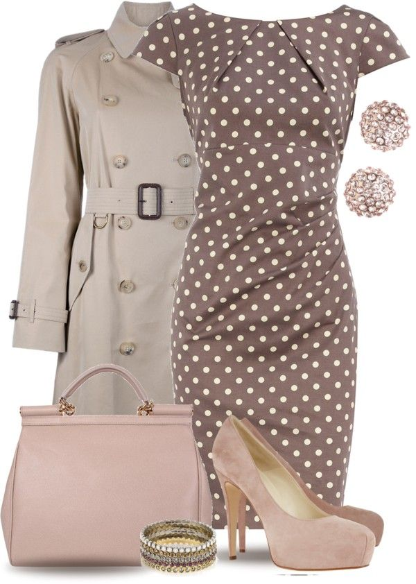 "This reminds me of the dress the bride wore to her Parisian bridal shower in the movie Bridesmaids.  ""Burberry Trench Coat & Polka Dots"" by yasminasdream on Polyvore"