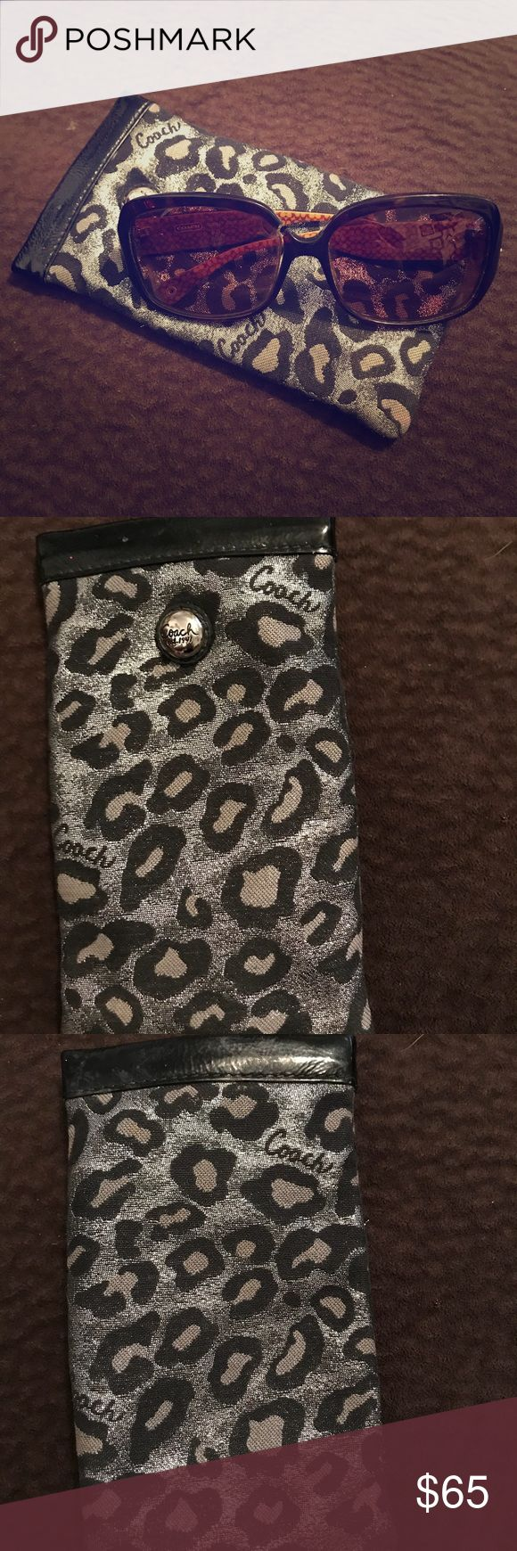 📍Authentic Coach Sunglasses&Coach Sunglasses Case Authentic Coach Sunglasses & Coach Sunglasses Case.  Large frame Sunglasses with no scratches on the lenses.  In great condition.  Authentic Coach Sunglasses Case Made out of leather Cheetah pattern In perfect condition   Make me a counter offer! Coach Accessories Sunglasses