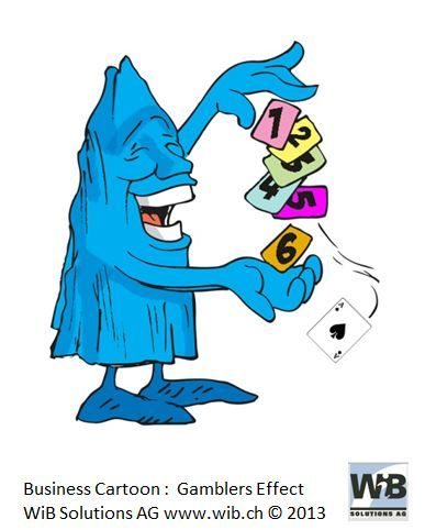 Business Cartoon Gamblers Effect by WiBi and WiB Solutions Switzerland. Check for more on management thinking mistakes at www.managementthinkingmistakes.ch