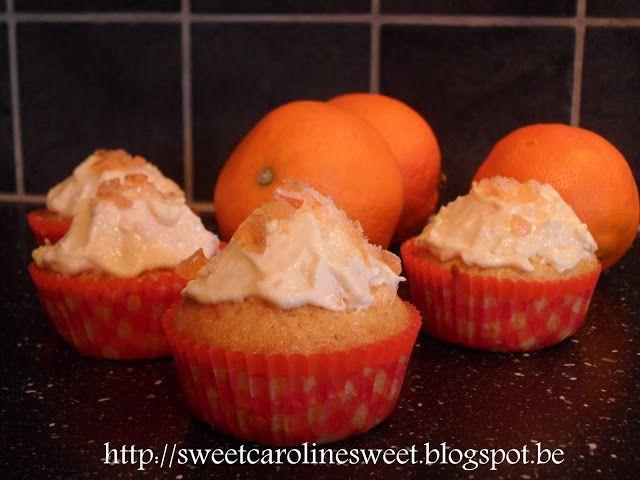 Sinaasappelcupcakes met roomkaasfrosting - Orange cupcakes with cream cheese frosting