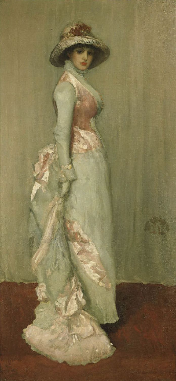 James Abbott McNeill Whistler, Harmonie in roze en grijs - Mevouw Meux (Engelse titel: 'Harmony in Pink and Grey - Lady Meux'), 1881, olieverf op doek, 193 x 92.2 cm, Indianapolis Museum of Art