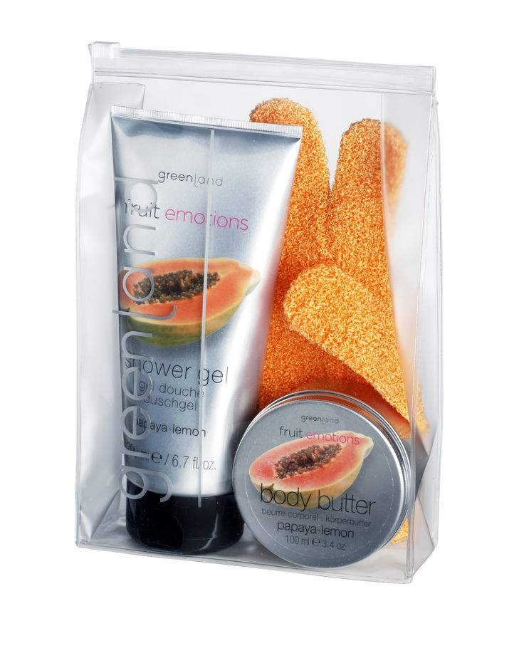 Papaya-lemon giftset: 250ml shower gel, 100ml body butter & scrub glove!