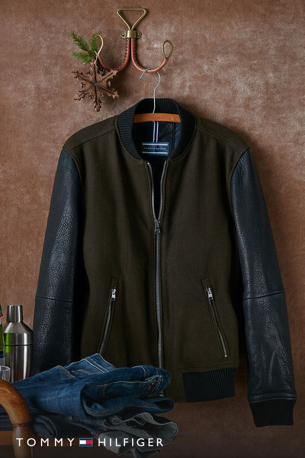 """The """"I haven't seen you since last year and you look amazing"""" jacket. The Leather Baseball Jacket, now at tommy.com."""