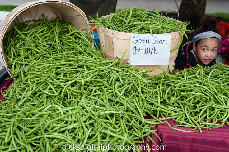 Boy with green beans at the Beaverton Oregon Farmers Market.