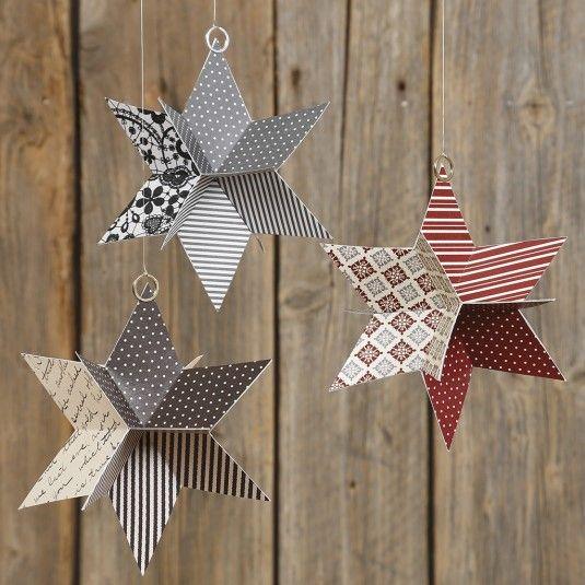 Stjerne i 3D af udstanset designpapir fra Vivi Gade