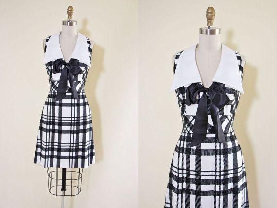 1960s Dress  Vintage 60s Dress  Black White Plaid by jumblelaya