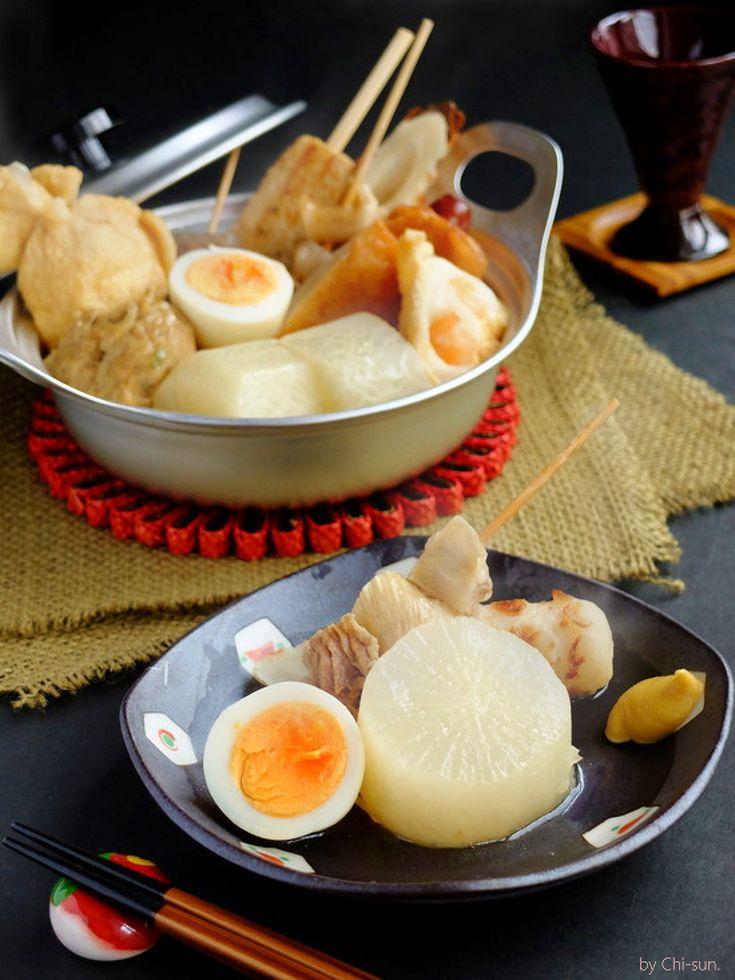 ちょこっと手抜き♡美味しい関西風おでん!【うどんスープ】 by 西井千里(ち~sun) / ヒガシマルのうどんスープを使った、出汁引き不要の絶品おでんつゆです。スッキリと上品な関西風なので、タネのひとつひとつが味わい深いですよ。ただし手順はきっちりと。味を芯まで染み込ませ、澄み切った美しいつゆに仕上げます。小面倒ですが、まるでプロの味。しゃらくさ~い!!!という人はごった煮でももちろんOKです(^^) / Nadia