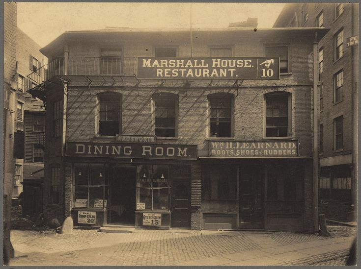 The Marshall House, Marshall Street, Boston | 1898 (approximate) Signage indicates that the building was occupied by the Marshall House Restaurant and William H. Learnard Boots, Shoes & Rubbers, and that the address was 10 Marshall Street.