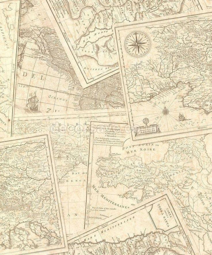 Muriva Map Beige Wallpaper 601509 Nautical Compass