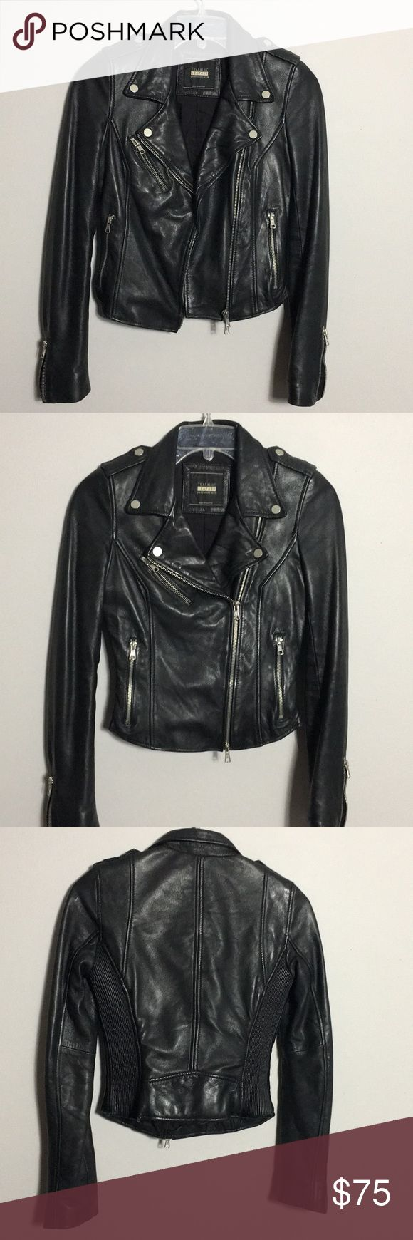 Zara • Genuine Leather Motorcycle Jacket Leather