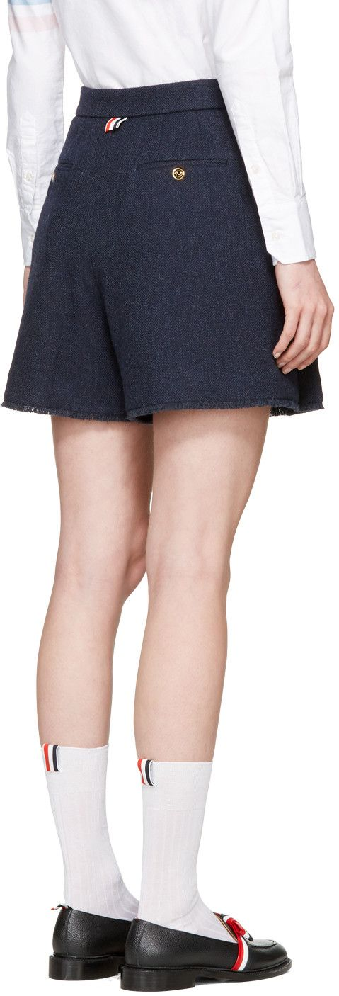 Thom Browne - Navy Pleated Wool Shorts
