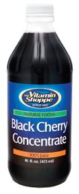 the Vitamin Shoppe Black Cherry Concentrate (Unsweetened), 16.0 Fluid Ounces , Liquid the Vitamin Shoppe Black Cherry Concentrate (Unsweetened) 16 Fluid Ounces Liquid Product Label *Natural Foods *100% Juice Concentrate *NO Yeast, Corn, Wheat, Gluten, Salt, Soy, Dairy, Citrus, Fish, Animal Derivatives, Preservatives, Artificial Colors or Flavors Added.
