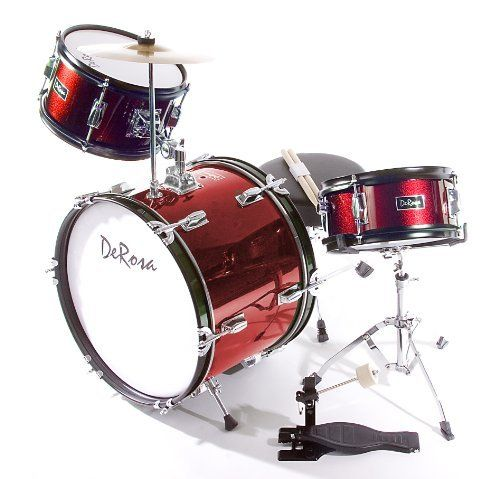 De Rosa DRM316-RD Junior 3 Piece 16 Inch  Drum Set with Chair, Red by De Rosa. $132.53. De Rosa Junior Drum Set is the ultimate drum kit for any young aspiring drummer. This set comes with everything your drummer will need to start playing.  Built using real drum specifications the De Rosa Junior drum set is made using Birch and features authentic metal hardware. The materials used in these sets are equivalent to materials used in higher priced adult Drum Sets sets.  This s...
