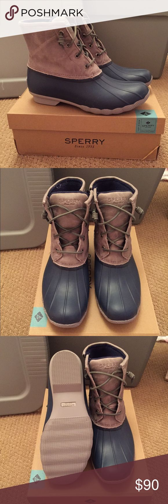 Sperry 'Saltwater' Duck Boot New in box! Sperry Saltwater Duck Boot, women's size 10. Navy and grey. Sperry Top-Sider Shoes Winter & Rain Boots