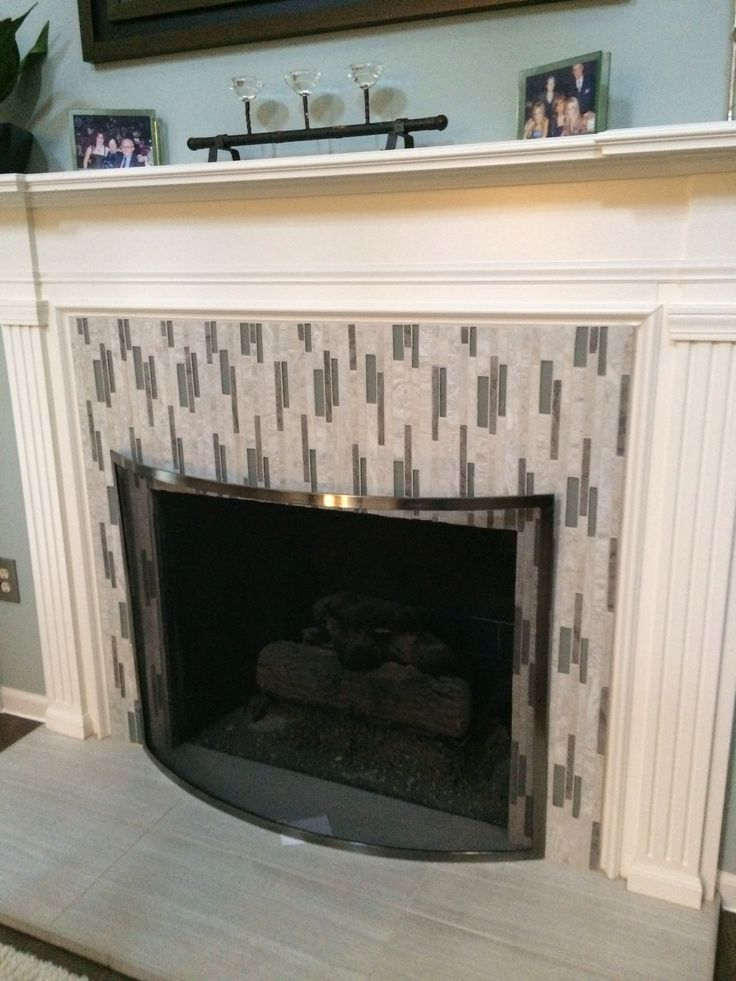 Tiled Fireplace With Vertical Mosaics Kitchen Drawing