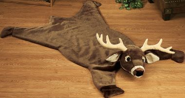 Give your trophy room a whimsical touch with these faux animal-skin rugs. Both have nonskid backing. They're easily cared for: just surface wash, air dry and brush out with a standard dog brush. A great addition to a kid's room, a cabin or any outdoor-themed home.