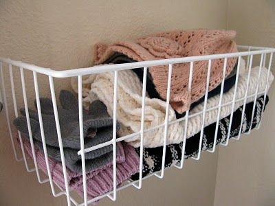 basket hanging inside closet door for gloves hats scarves-can use a hook on bottom for hanging scarves or purses