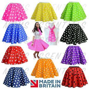 50s POLKA DOT SKIRT Ladies Girls Fancy Dress Rock n Roll Grease DANCE Costume UK  | eBay