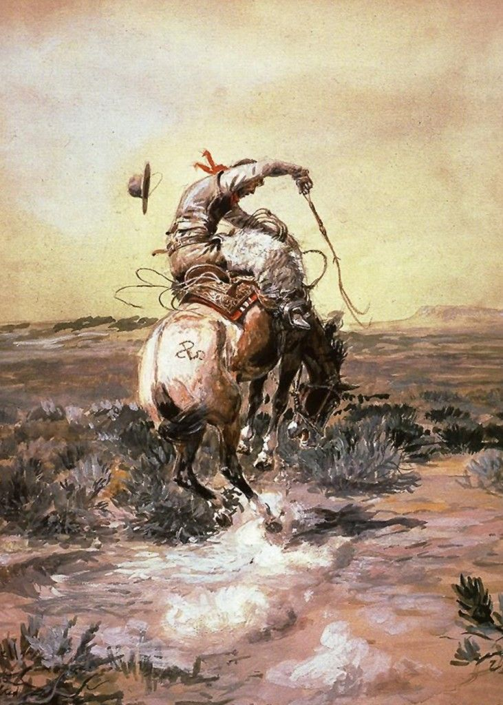 "Charles Marion Russell - Slick Rider   Charles Marion Russell also known as C. M. Russell, Charlie Russell, and ""Kid"" Russell, was an artist of the Old American West. Russell created more than 2,000 paintings of cowboys, Indians, and landscapes set in the Western United States."