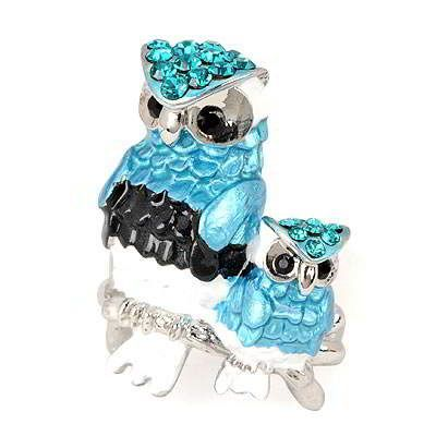 Display Blue Two Owl Design Alloy Fashion Rings Blue  Fashionable with passion REPIN if you like it.😊 Only 133.5 IDR