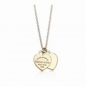 Tiffany Co Outlet mini double heart pendant
