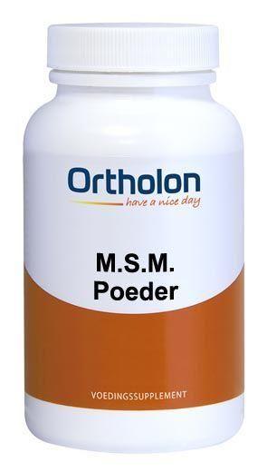 Ortholon MSM Poeder 200 gram - MSM is een zeer veel voorkomende, natuurlijke substantie. Iedere cel van plant en dier bevat MSM. Het is een vorm van biologische of organische zwavel en maakt ongeveer 0.25% van het gewicht van het menselijk lichaam uit. Ortholon gebruikt voor zowel de capsules als het poeder Lignisul MSM. Dit is een gepatenteerd handelsmerk en heeft een puurheid van minimaal 99,7% MSM. Ortholon MSM Poeder bevat per dagdosering 8 gram MSM.
