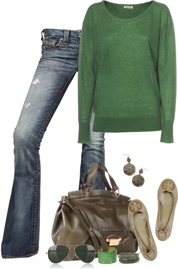 cute for fall...love the green sweater....trade out the ballet flats for Toms and I'm good to go! Maybe even some brown boots would look cute with this! ^_^