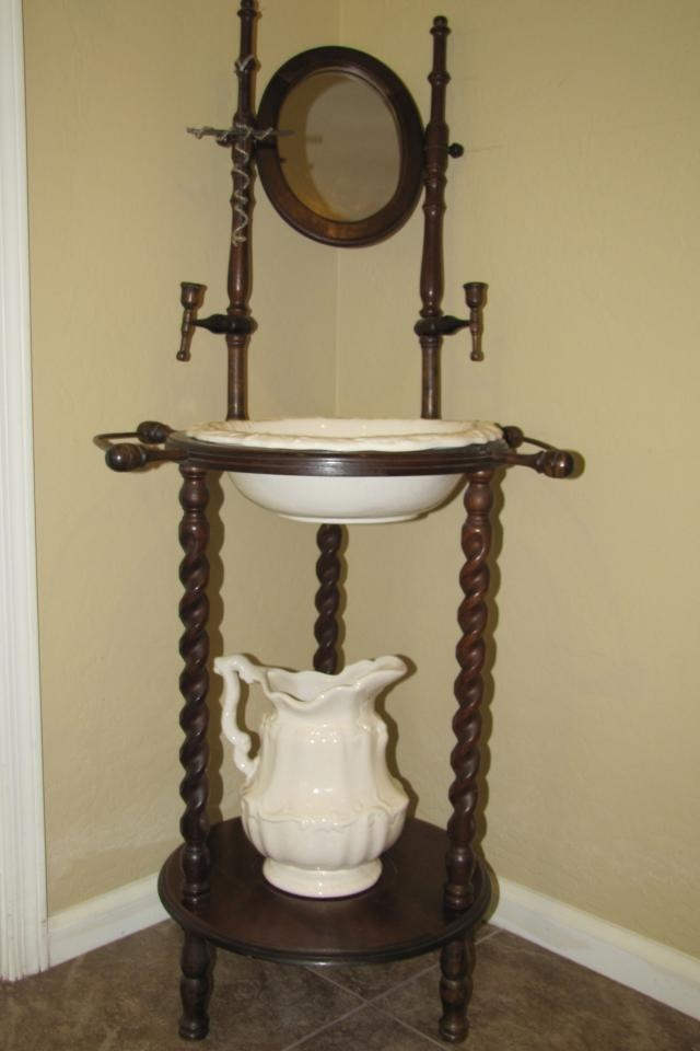 Image Detail For Antique Wooden Wash Stand W Pottery