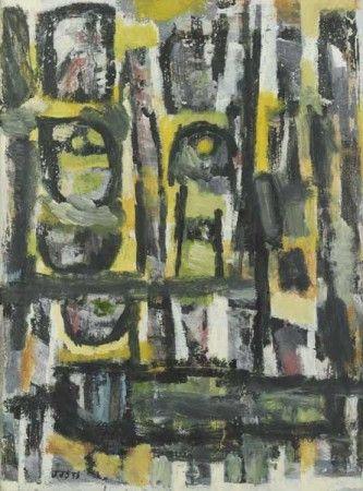 Dikke vis, 1956 - olieverf op papier - 60x45cm - Abstracte voorstelling opgebouwd uit zwarte lijnen, in horizontale en verticale richting. De lijnen creëren diverse patronen op de ondergrond, waar verschillende kleuren in vlekken zijn aangebracht.