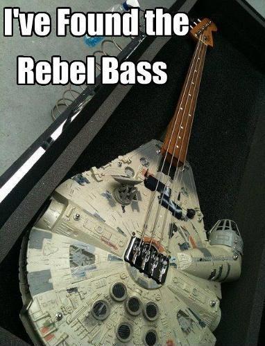 LOL: Rebel Bass, Geek Humor, Millennium Falcon, Funny Pictures, Stars War, Rebel Bass, Bassguitar, Dark Side, Bass Guitar